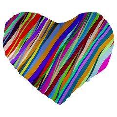 Multi Color Tangled Ribbons Background Wallpaper Large 19  Premium Flano Heart Shape Cushions by Amaryn4rt