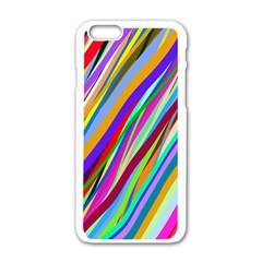Multi Color Tangled Ribbons Background Wallpaper Apple Iphone 6/6s White Enamel Case by Amaryn4rt