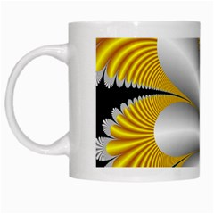 Fractal Gold Palm Tree On Black Background White Mugs by Amaryn4rt