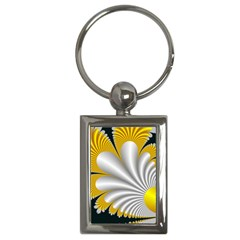 Fractal Gold Palm Tree On Black Background Key Chains (rectangle)  by Amaryn4rt