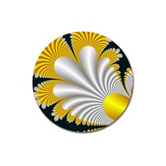 Fractal Gold Palm Tree On Black Background Magnet 3  (round) by Amaryn4rt