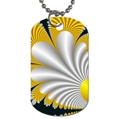 Fractal Gold Palm Tree On Black Background Dog Tag (one Side) by Amaryn4rt