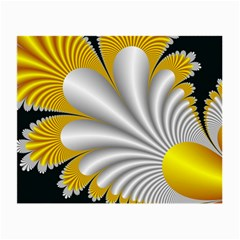 Fractal Gold Palm Tree On Black Background Small Glasses Cloth by Amaryn4rt