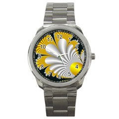 Fractal Gold Palm Tree On Black Background Sport Metal Watch by Amaryn4rt