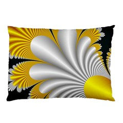Fractal Gold Palm Tree On Black Background Pillow Case by Amaryn4rt