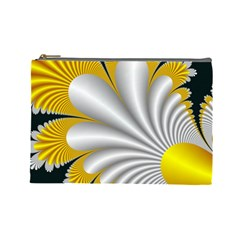 Fractal Gold Palm Tree On Black Background Cosmetic Bag (large)  by Amaryn4rt