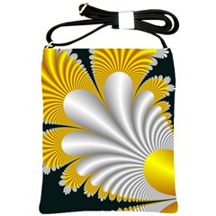 Fractal Gold Palm Tree On Black Background Shoulder Sling Bags by Amaryn4rt