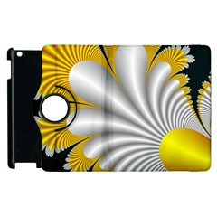 Fractal Gold Palm Tree On Black Background Apple Ipad 2 Flip 360 Case by Amaryn4rt