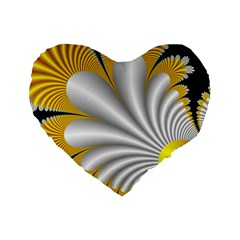 Fractal Gold Palm Tree On Black Background Standard 16  Premium Heart Shape Cushions by Amaryn4rt