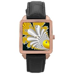 Fractal Gold Palm Tree On Black Background Rose Gold Leather Watch  by Amaryn4rt