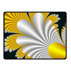 Fractal Gold Palm Tree On Black Background Double Sided Fleece Blanket (small)  by Amaryn4rt