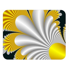Fractal Gold Palm Tree On Black Background Double Sided Flano Blanket (large)  by Amaryn4rt