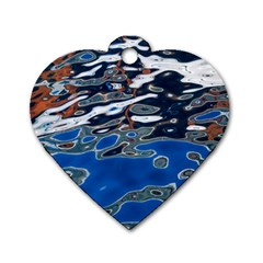 Colorful Reflections In Water Dog Tag Heart (two Sides) by Amaryn4rt