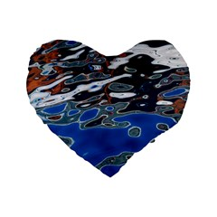 Colorful Reflections In Water Standard 16  Premium Heart Shape Cushions by Amaryn4rt