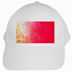 Abstract Red And Gold Ink Blot Gradient White Cap by Amaryn4rt