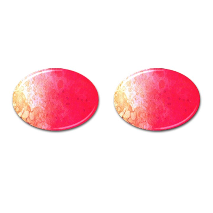 Abstract Red And Gold Ink Blot Gradient Cufflinks (Oval)