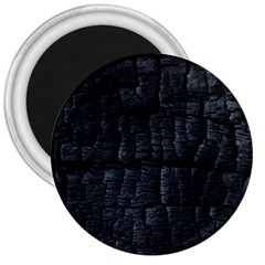 Black Burnt Wood Texture 3  Magnets by Amaryn4rt