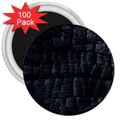 Black Burnt Wood Texture 3  Magnets (100 Pack)