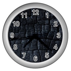 Black Burnt Wood Texture Wall Clocks (silver)  by Amaryn4rt