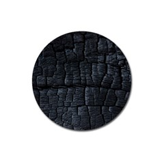 Black Burnt Wood Texture Magnet 3  (round) by Amaryn4rt