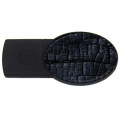Black Burnt Wood Texture Usb Flash Drive Oval (4 Gb) by Amaryn4rt