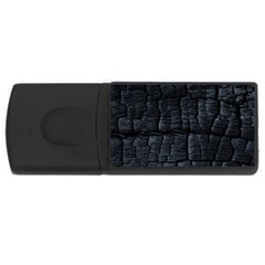 Black Burnt Wood Texture Usb Flash Drive Rectangular (4 Gb) by Amaryn4rt