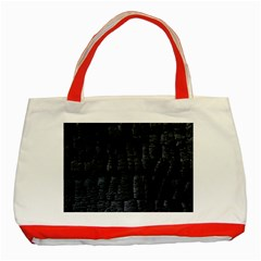 Black Burnt Wood Texture Classic Tote Bag (red) by Amaryn4rt