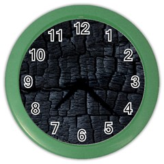 Black Burnt Wood Texture Color Wall Clocks by Amaryn4rt