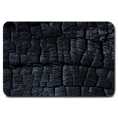 Black Burnt Wood Texture Large Doormat  by Amaryn4rt
