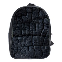 Black Burnt Wood Texture School Bags(large)  by Amaryn4rt