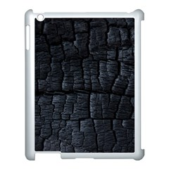 Black Burnt Wood Texture Apple Ipad 3/4 Case (white) by Amaryn4rt