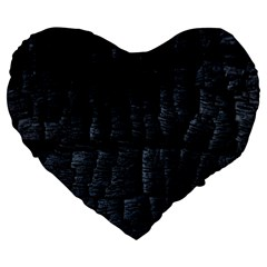 Black Burnt Wood Texture Large 19  Premium Heart Shape Cushions by Amaryn4rt