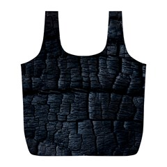 Black Burnt Wood Texture Full Print Recycle Bags (l)  by Amaryn4rt