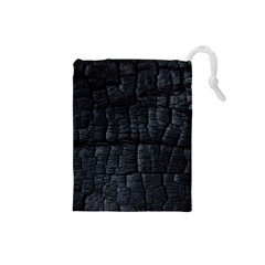 Black Burnt Wood Texture Drawstring Pouches (small)  by Amaryn4rt