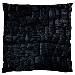 Black Burnt Wood Texture Large Flano Cushion Case (two Sides) by Amaryn4rt