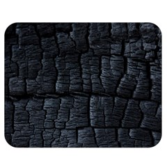 Black Burnt Wood Texture Double Sided Flano Blanket (medium)  by Amaryn4rt
