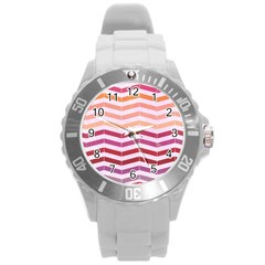 Abstract Vintage Lines Round Plastic Sport Watch (l) by Amaryn4rt