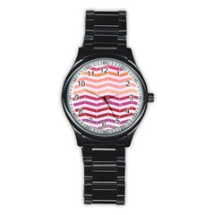 Abstract Vintage Lines Stainless Steel Round Watch by Amaryn4rt