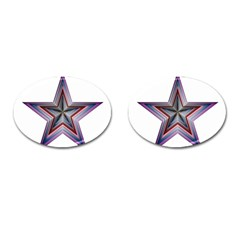 Star Abstract Geometric Art Cufflinks (oval) by Amaryn4rt