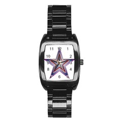 Star Abstract Geometric Art Stainless Steel Barrel Watch by Amaryn4rt