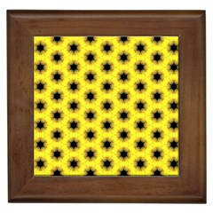 Yellow Fractal In Kaleidoscope Framed Tiles
