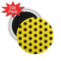 Yellow Fractal In Kaleidoscope 2 25  Magnets (100 Pack)  by Amaryn4rt