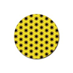 Yellow Fractal In Kaleidoscope Rubber Coaster (round)  by Amaryn4rt