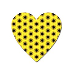 Yellow Fractal In Kaleidoscope Heart Magnet by Amaryn4rt