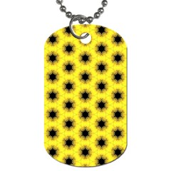 Yellow Fractal In Kaleidoscope Dog Tag (one Side) by Amaryn4rt