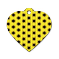 Yellow Fractal In Kaleidoscope Dog Tag Heart (One Side)