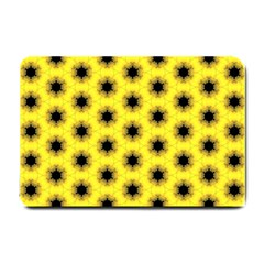 Yellow Fractal In Kaleidoscope Small Doormat  by Amaryn4rt