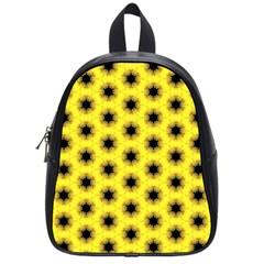 Yellow Fractal In Kaleidoscope School Bags (small)  by Amaryn4rt