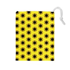 Yellow Fractal In Kaleidoscope Drawstring Pouches (large)  by Amaryn4rt