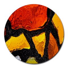 Colorful Glass Mosaic Art And Abstract Wall Background Round Mousepads by Amaryn4rt